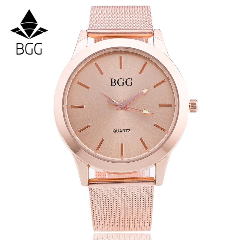 BGG Women Watch Rose Gold luxury brand watch men Fashion quartz-watch stainless steel mesh strap clock relogio masculino цена 2017