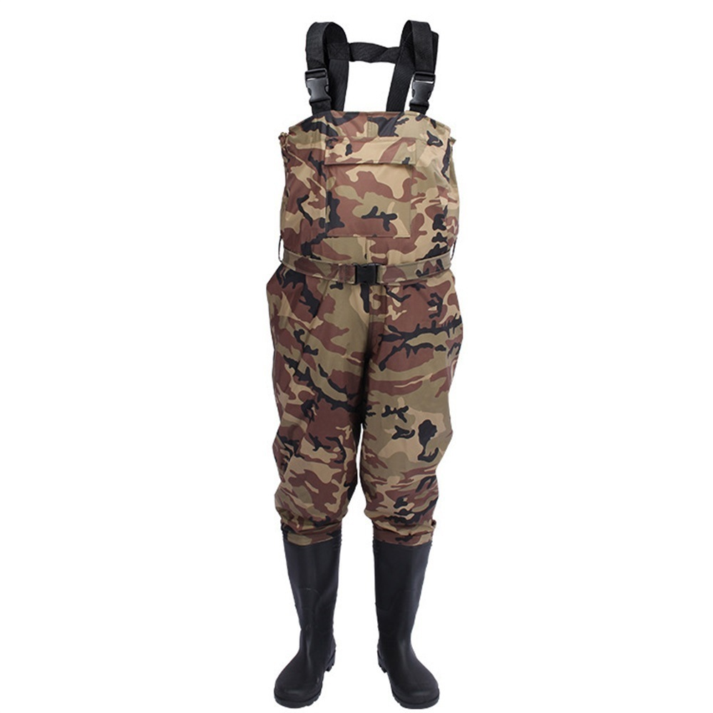 Men's Women Hunting Waterproof Bootfoot Fly Fishing Chest Rubber Waders Wading Boots Suit With Camouflage Pant image