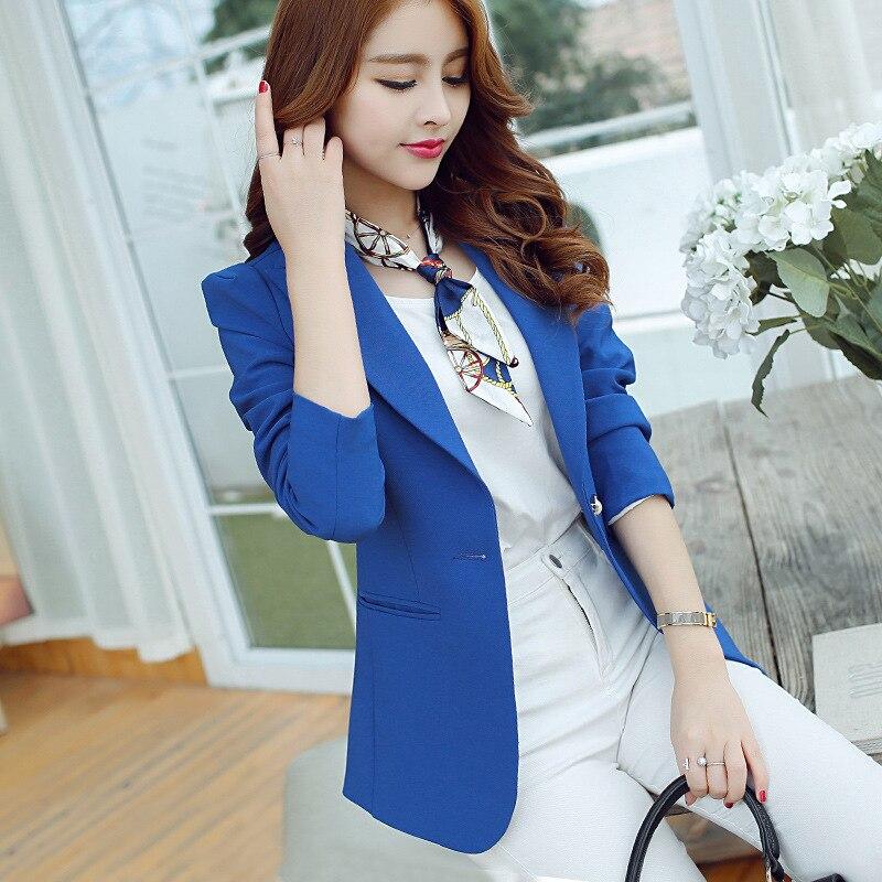 Hearty Ladies Blue Blazer 2018 Long Sleeve Blasers Womens Suit Jacket Office Female Feminine Blazer Femme Work Jacket For Women Black Back To Search Resultswomen's Clothing