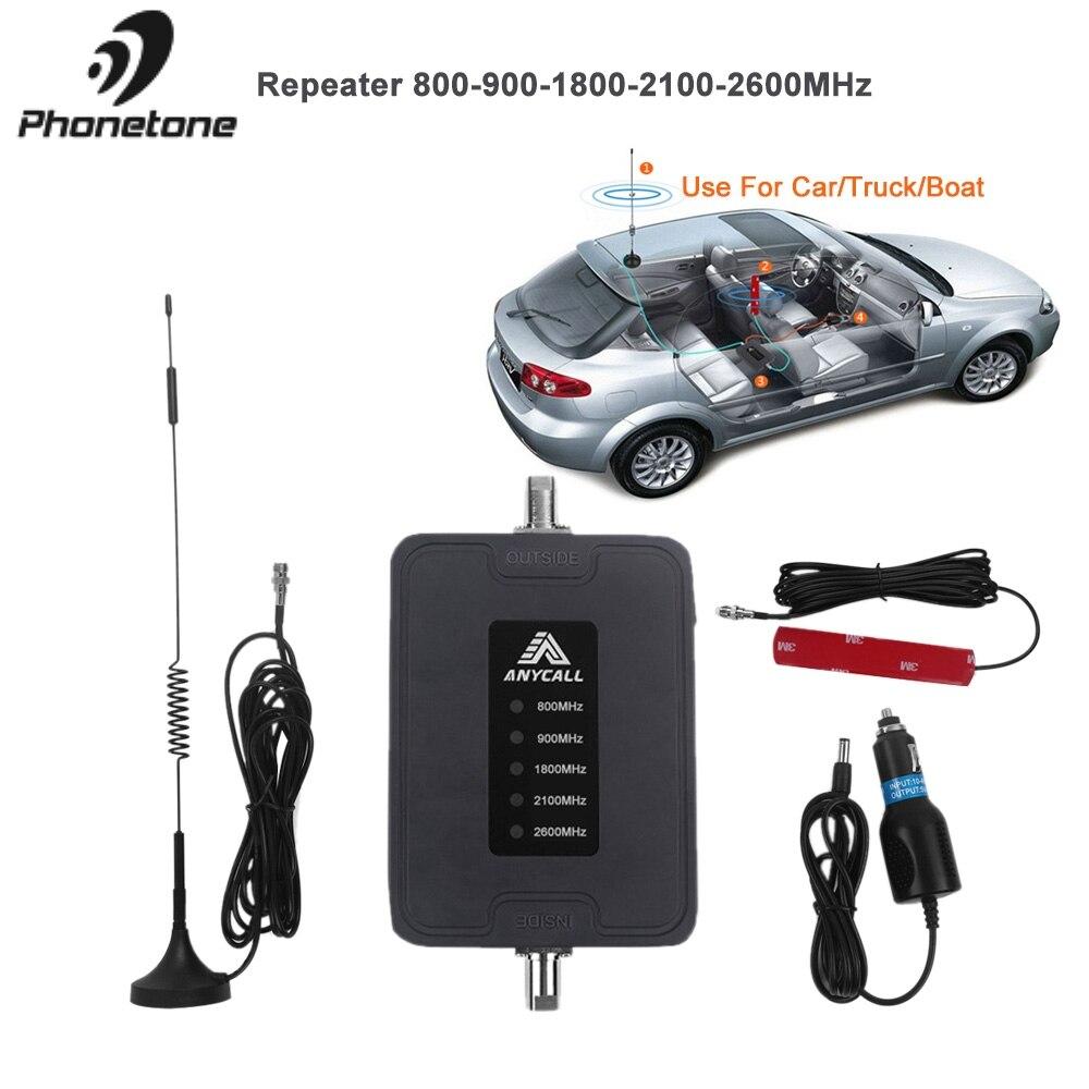 Mobile Signal de Téléphone Cellulaire Booster 800/900/1800/2100/2600 MHz 2G 3G 4G LTE 5 Bande 45dB Gain Cellulaire Répéteur Amplificateur pour utilisation De la Voiture