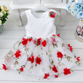 Free Shipping Retail Girl Dresses Children Party  Summer Princess Girl Dresses Wedding Dress Patchwork Appliques 5 Colors