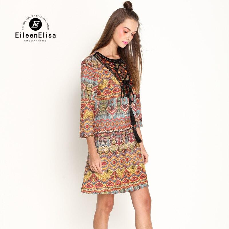 Robe Designer Vintage Piste Eileen 2018 Longueur Casual Robes Imprimer Genou Elisa Glands 5En1ET4q