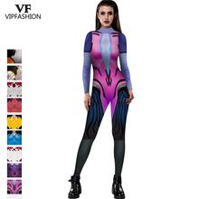 VIP FASHION Black Lily Anime Game Cosplay Costume Jumpsuits D.VA Zentai Spandex Lycra  Bodysuit Halloween Carnival Party