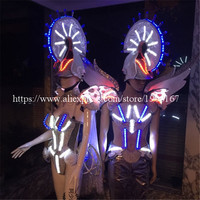 Newest Colorful Led Luminous Carnival Victoria Ballroom Costume White Knight Catwalk ClothesStage Dance DJ Singer Cosplay Cloth