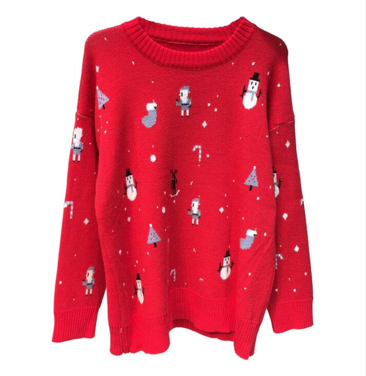 Christmas red Sweaters sky Lady Round Girls Knit Winter 2019 Jacquard collar sleeved Long Cartoon Black Students Women Loose Pullover Blue zREgxqH