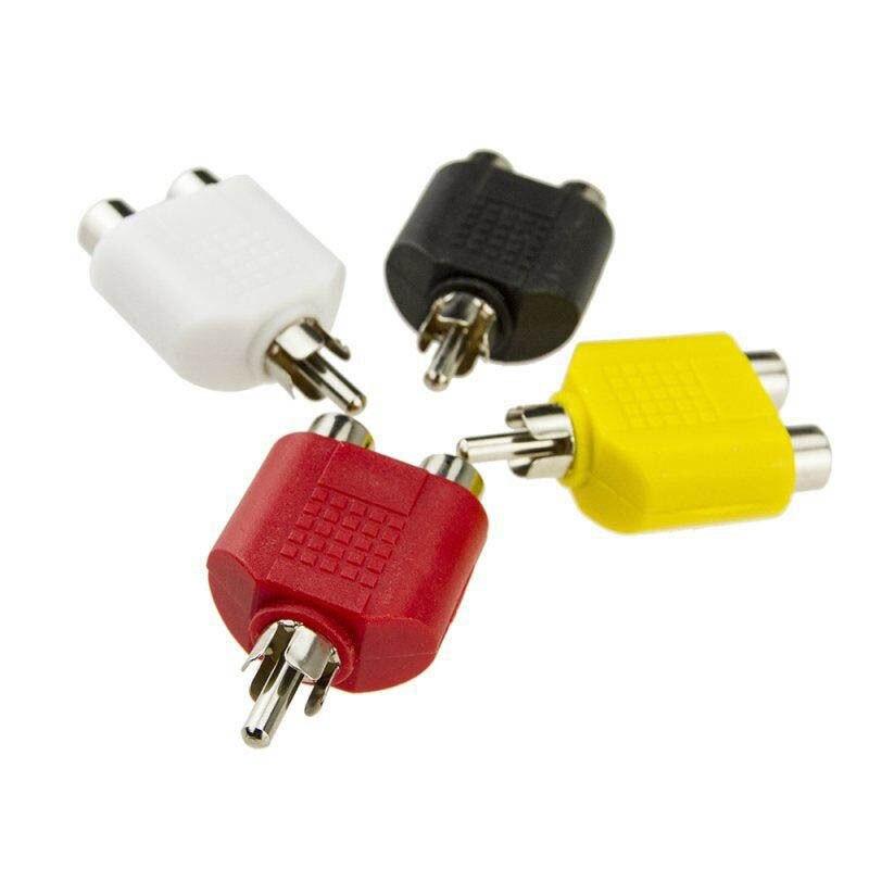 4 Pcs/lot 1 Lotus Converter Color AV Jack  RCA Plug To Double Male To 2 Female Adapter Kit RCA Y Splitter AV Audio Video Plug