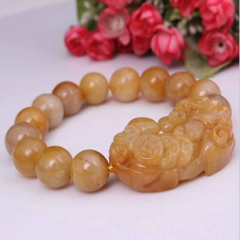 Natural HuangLong Yu Stone Bracelet 2018 New Cute Handmade Carved PIXIU Round Beads Women Men's Gift Bracelets Jades Jewelry
