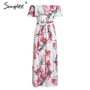 Image 5 - Simplee Bohemian floral print women jumpsuit Elegant off shoulder sashes ladies long jumpsuit Summer beach ruffled playsuit 2019