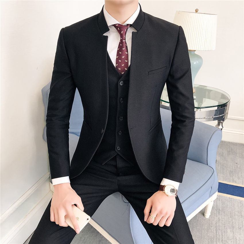 2019 Pure Color Men's Formal Business Suits Men Stand Collar Chinese Style Business Suits Men 3 Pieces Wedding Tuxedos Suits