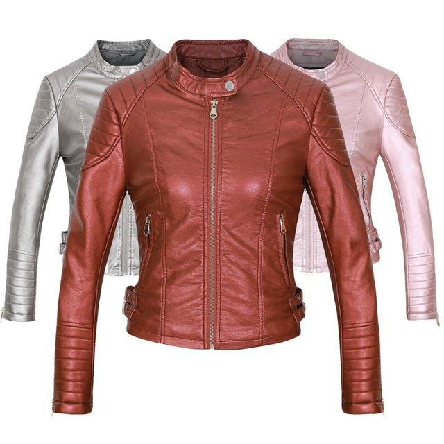 fc3e8bad8049 Marque Moto Veste En Cuir PU Femmes 2018 Hiver Et Automne Nouvelle Mode  Manteau Marron Couleur