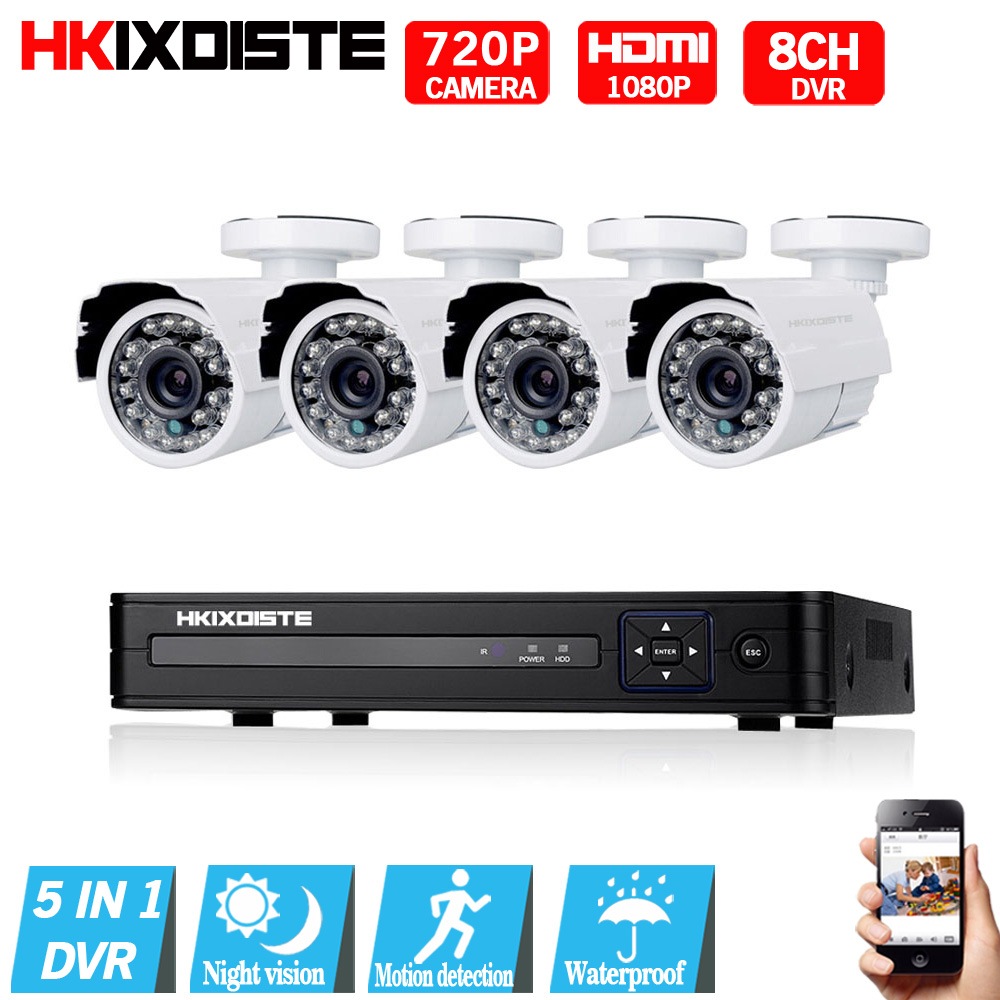 8CH 1080 P HDMI 1080N DVR 2000TVL 720 P HD Открытый безопасности Камера Системы 8-канальный видеонаблюдения DVR комплект AHD CCTV Камера комплект