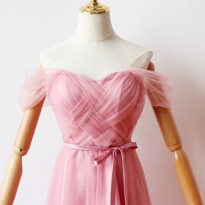 Image 4 - ציפוי פנימי אדום שעועית ורוד שושבינה שמלות אישה שמלות למסיבה וחתונה מקסי שמלה