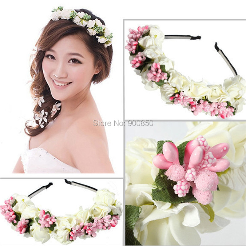 Korean Style Resin Flower Floral Hair Hoop For Women Ladies Bridal Wreath Hair Band Wedding Accessories Ornaments Handmade in Hair Jewelry from Jewelry Accessories