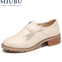 MIUBU 2019 Spring Women Platform Shoes Womens Casual Shoes Leather Flats Platform Shoes Woman Flats Ladies Lace up Creepers стоимость