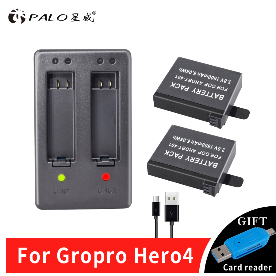 New 2x AHDBT-401 1600mAh + Dual Charger For Gopro Hero 4 Batteries Go Pro Hero4 bateria AHDBT 401 Action camera Accessories