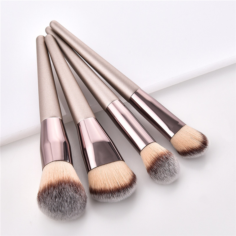 4/10pcs Champagne makeup brushes set for cosmetic foundation powder blush eyeshadow kabuki blending make up brush beauty tool 3