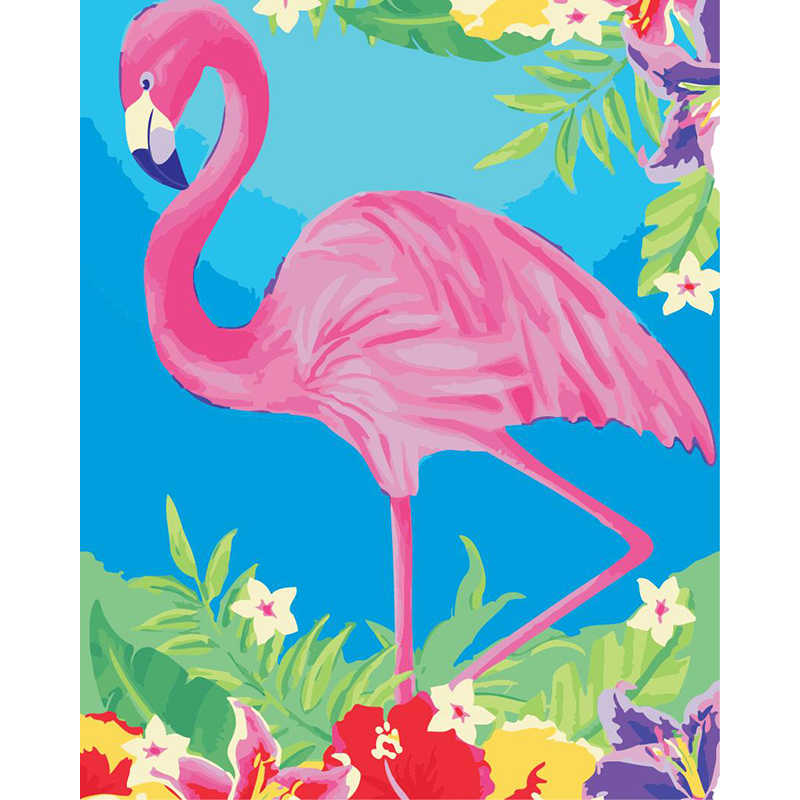 Framed Flamingo Pictures Painting By Numbers Diy Digital Oil Painting Hand Painted Canvas Painting wall Pictures For Living Room