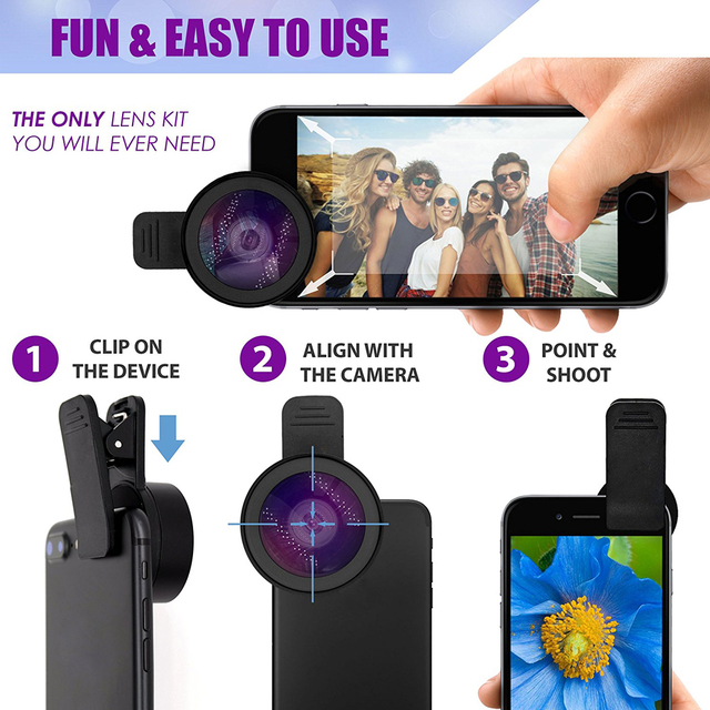 APEXEL Phone Lens kit 0.45x Super Wide Angle & 12.5x Super Macro Lens HD Camera Lentes for iPhone 6S 7 Xiaomi more cellphone 4