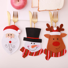Santa Hat Reindeer Christmas New Year Pocket Fork Knife Cutlery Holder Bag Home Party Table Dinner Decoration Tableware 62244