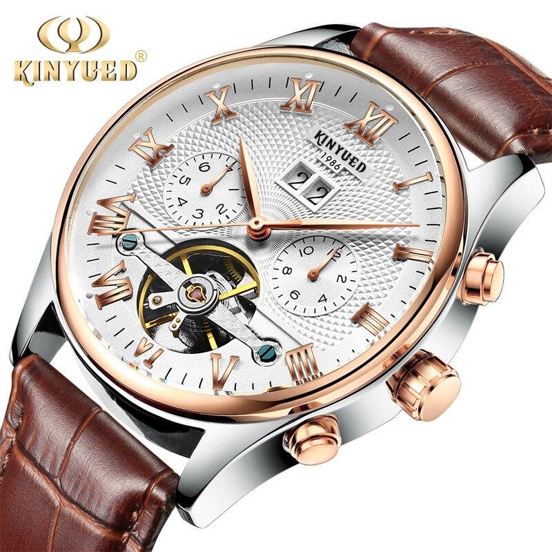 Натуральная KINYUED Роскошные Лидирующий бренд мужские Скелет Tourbillon автоматические механические часы Бизнес Кожа Дата наручные relojes