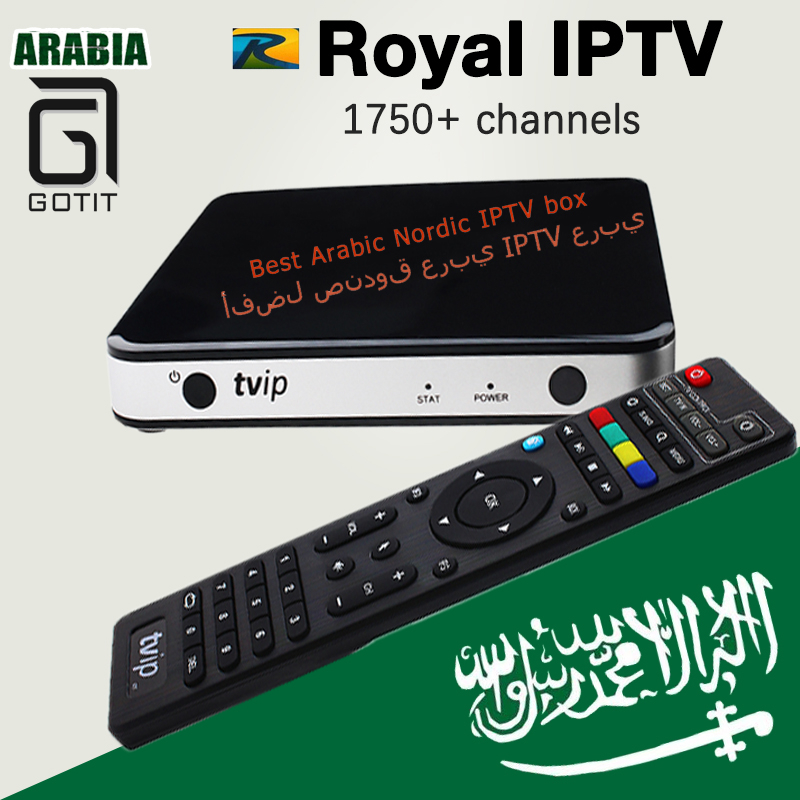 Arabic IPTV TVIP 605 Android/Linux Box with 1750+Russian Arabic Nordic Europe IPTV Smart Tv Top box support H.265 KO mag25x box