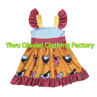 Hot Sale Chicken Printing Dress Pretty Children Frocks Designs Persnickety Remake Clothes Party Dresses