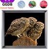 GGDB Three Little Owls Embroidery 5D DIY Diamond Painting Animal Home Decoration Arts Full Rhinestone Square