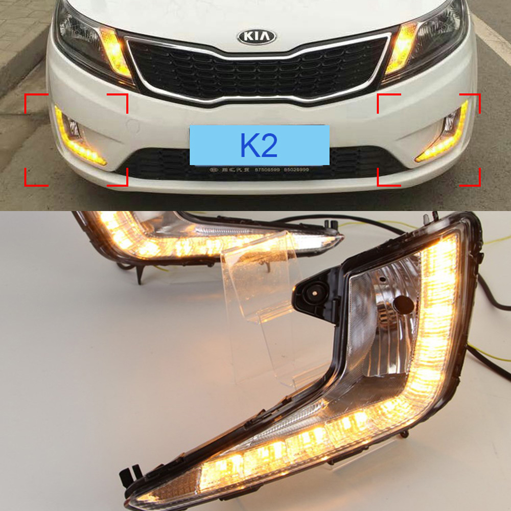 Car LED DRL Waterproof ABS Super bright 12V LED Daytime Running Light For Kia K2 2011 2012 2013 2014 with signal lamp function akd car styling led drl for kia k2 2012 2014 new rio eye brow light led external lamp signal parking accessories