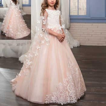 Vintage Wedding Bridesmaid Dresses for Kids Sleeveless Puffy Trailing Long Dress Elegant Girls First Communion Princess Dress - SALE ITEM All Category