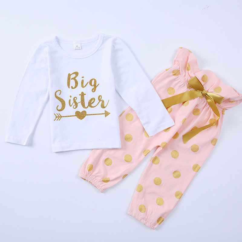 Full Range Of Specifications And Sizes Selfless 2018 Newborn Baby Kids Girl Clothes Set Spring Costume Suit Big Sister T-shirt Little Sister Shorts Skirts Bodysuits Girls 2pcs Famous For High Quality Raw Materials And Great Variety Of Designs And Colors
