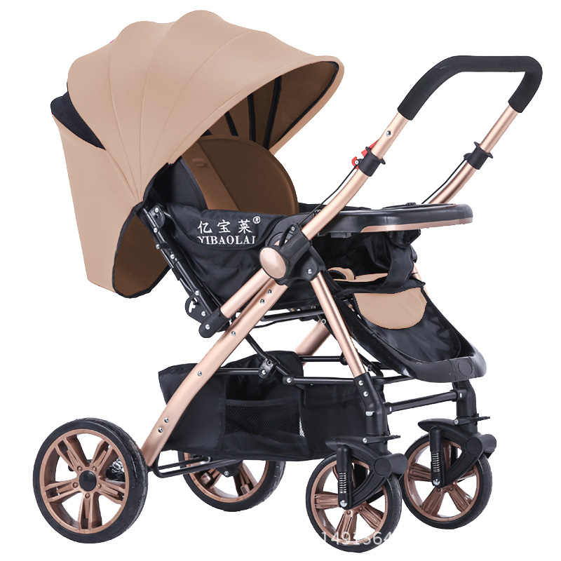 Popular high-profile baby trolley can sit and lying carrinho de be ultra-light portable folding four-wheeled cart high profile baby trolley ultra light can be lying down two way four wheel shock baby trolley