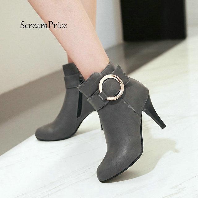 0645df55117 Las mujeres delgadas de tacón alto con hebilla lado cremallera tobillo botas  moda punta estrecha zapatos