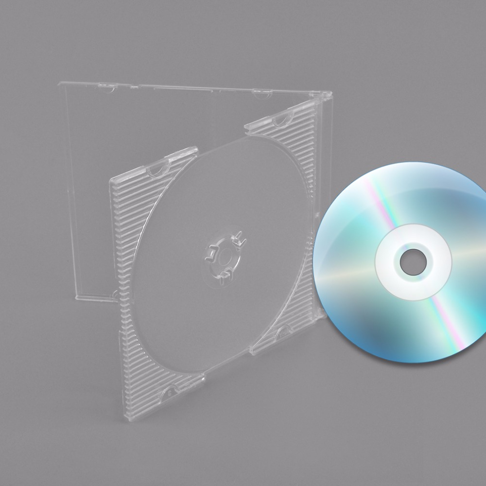 100pcs Set 3 Inch 8CM Portable Transparent CD Case Standard Size DVD CD Cases Holder Storage Hard Box