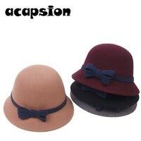 British Wool Fedoras Bow Knot Pure Wool Felt Bowler Hat Fedora Dome Bucket Boater Hat For Women Floppy Cloche Chapeu Feminino