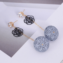 Doreen Box Alloy Gold Stud Transparent Rhinestone Stud Earrings Black Hollow Flower Pink Grey Ball Fashion Women Jewelry,1 Pair