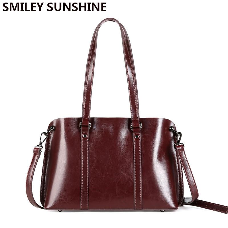 SMILEY SUNSHINE Boston bags ladies genuine leather luxury handbags women bags designer famous brand woman bags