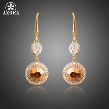 New Arrival Gold Color Round Champagne Crystals Dangle Earrings For Women  Party Fashion Drop Earrings Jewelry TE0294 f5408441be44