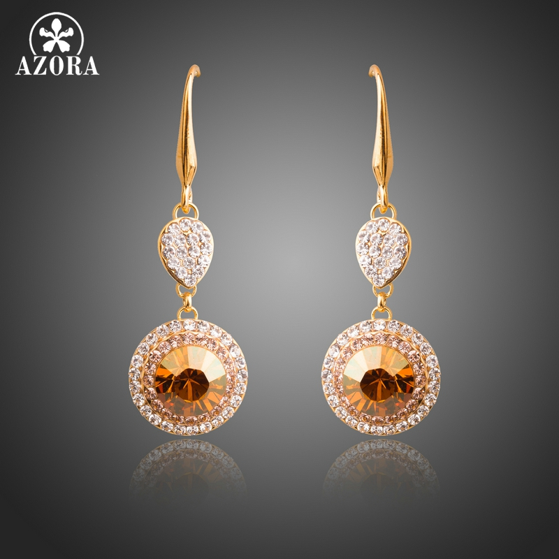 AZORA New Arrival Gold Color Round Champagne Crystals Dangle Earrings For Women Party Fashion Drop Earrings Jewelry TE0294