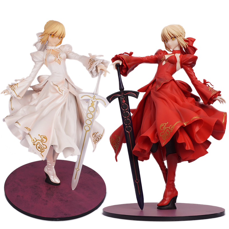 Fate/stay Night characters Red Black wedding Dresses Saber Figure Model fate apocrypha Figurine FO30 figurine