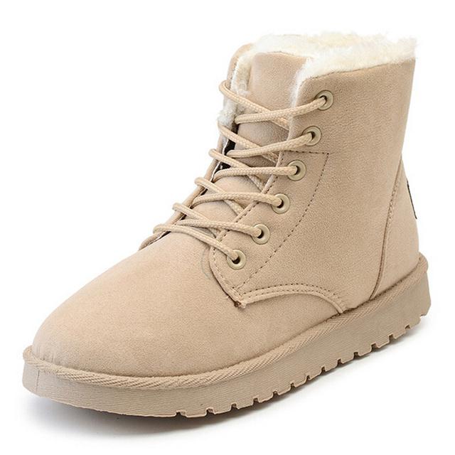 Mujeres botas 2016 de la moda talón plano botines de felpa gruesa caliente botas de nieve de las mujeres zapatos de invierno botas lace up solid mujer bottine