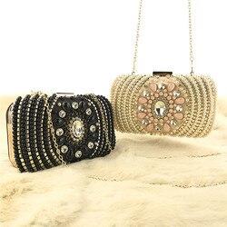 Cristal de luxo noite bolsa embreagem feminina oval em forma pérola frisado bolsa senhoras casamento festa strass pérola walletc521