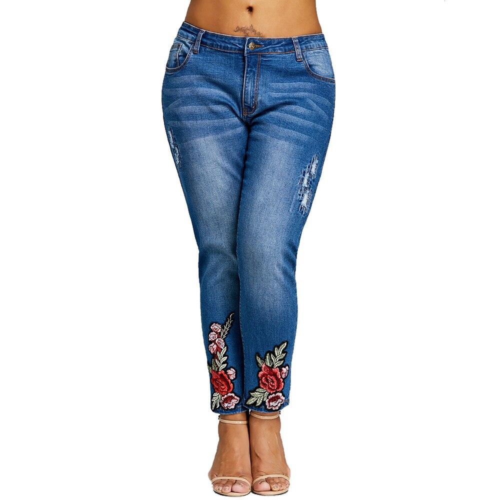 Femme Bordada Damas Jeans Dark Pantalones Cremallera 5xl Gran Bordado Wipalo Tamaño 2018 Lápiz Ropa Mujeres Plus Denim Blue Floral La De xnqC4zHZ0w
