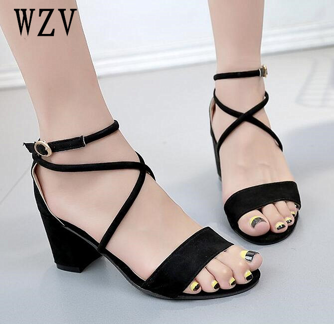 Summer Women Sandals Open Toe Flip Flops Womens Sandles Thick Heel Cross strap Women Shoes Korean Style Gladiator Shoes B287 ...