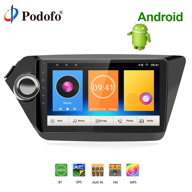 Podofo 2 din Android Car Radio Multimedia Player GPS Navigation Audio Stereo MP5 WIFI Autoradio no dvd For Kia K2 RIO 2013-2018