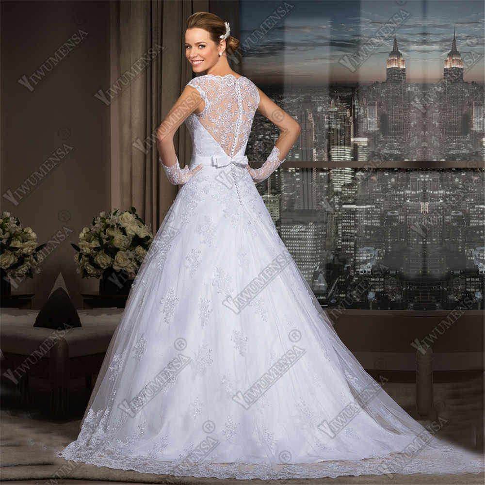 Vestido De Noiva Scoop кружево трапециевидной формы свадебное платье es 2018 с рукавами и аппликацией бисер Винтаж с бантом свадебное