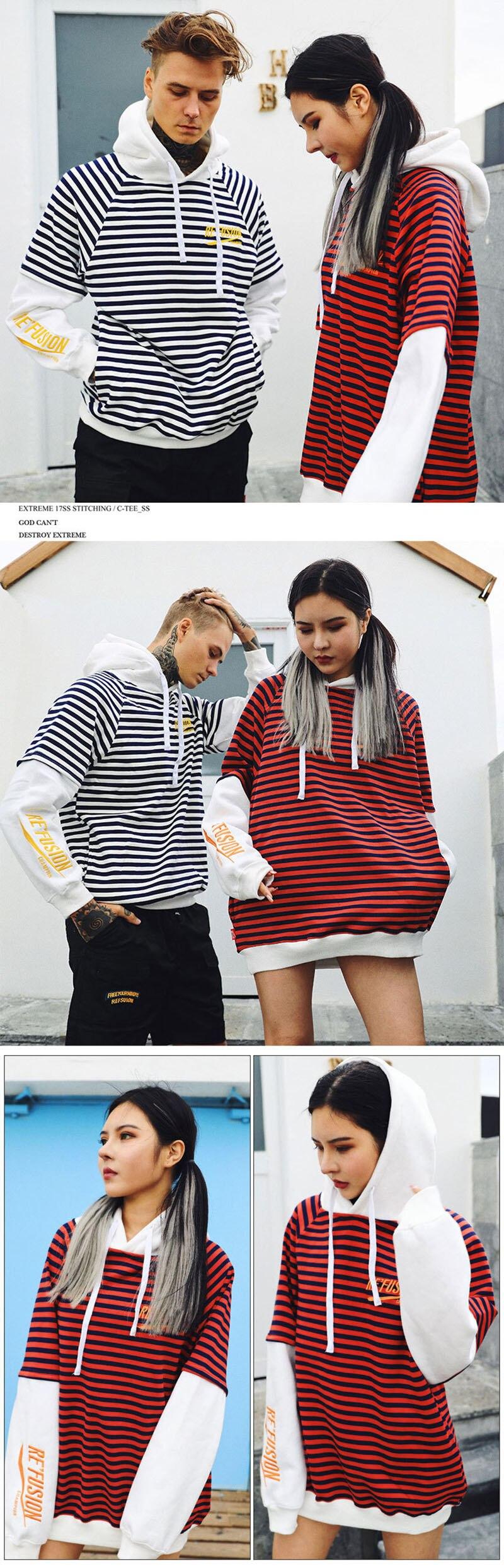 Aolamegs Male Sweatshirt Striped Hooded Sweatshirts O-Neck Pullover Loose Streetwear High Street Hip hop Fashion Winter Couple (11)