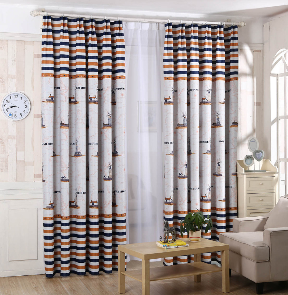 Free shipping new mediterranean style blackout curtain for Childrens bedroom curtain fabric
