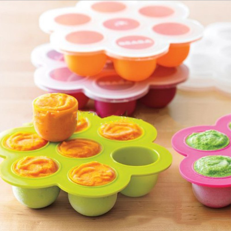 Multifunction Safety Silicone Baby Infant Flower Lattice Food Container Fruit Breastmilk Storage Box Freezer Tray Cup Cake Mold