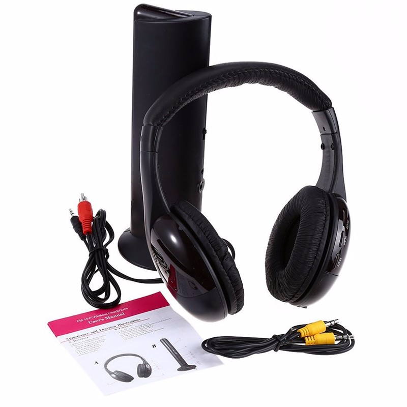 5in1 Wireless Audio-chat Headphone HiFi Monitor Headset FM Radio Earphones With MIC For PC TV DVD Audio Mobile Home Outdoor MP3 (3)