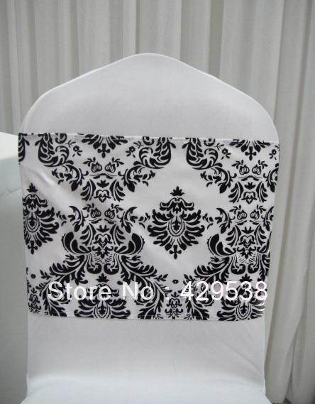 chair cover elegance swivel for nursery free shipping 300pcs white and black flocking taffeta sash also call damask